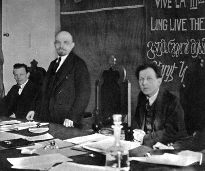 В.И.Ленин в президиуме I конгресса Коминтерна height=333