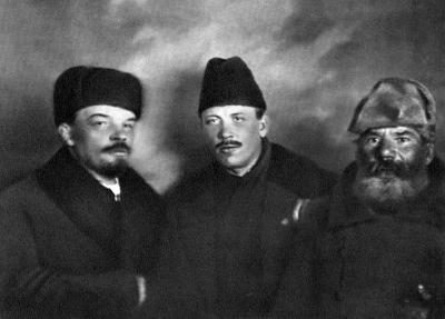 В.И.Ленин, Демьян Бедный и Ф.Панфилов height=287